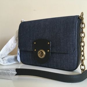 Ralph Lauren NWT Millbrook Denim Chain Crossbody